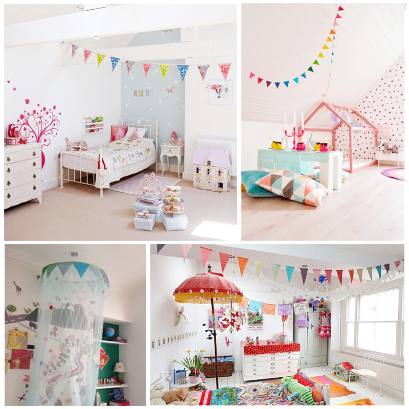 Small triangular flags garland string flag banners floral for Room decoration products