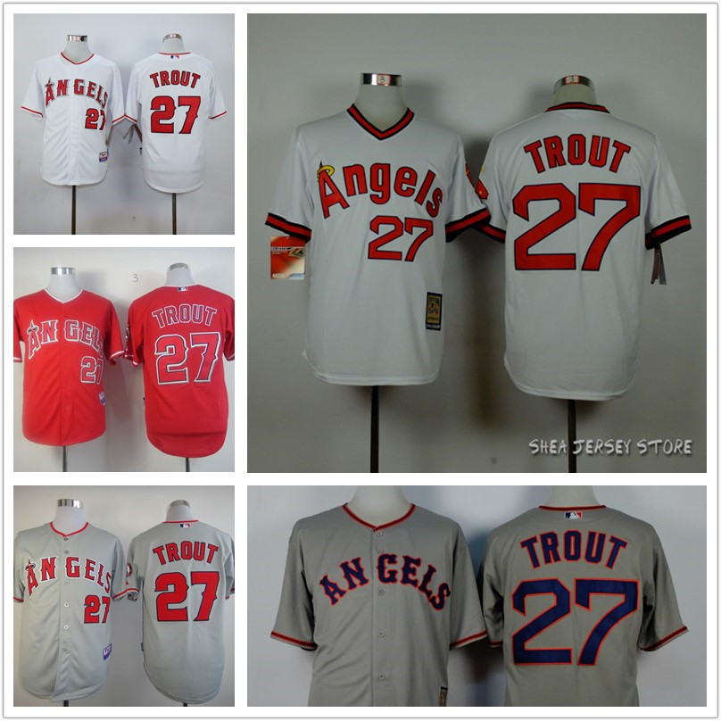 Mike Trout Jersey,Los Angeles Angels of Anaheim #27 throwback Baseball jerseys White Grey red black Sports Jerseys Free shipping(China (Mainland))