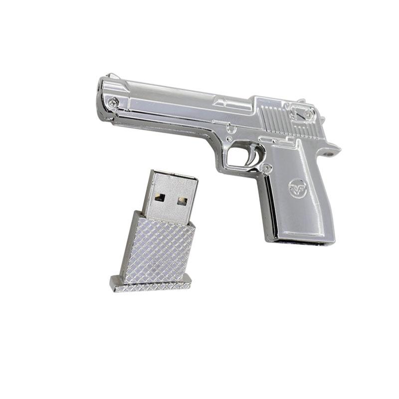 Garunk Pendrive 8G USB Flash Drive 32G USB Stick 16G 4G Flash Drive Silver Pistol Model USB2.0 Pendrive Memory USB Free Shipping(China (Mainland))