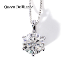 Buy Queen Brilliance Sterling 925 Silver Chain Genuine 18K 750 White Gold Pendent 2 Ct GH Color Moissanite Necklaces & Pendants for $508.00 in AliExpress store