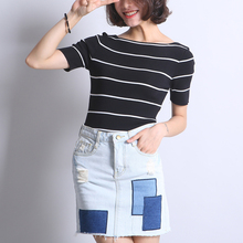 Summer High Waist Denim Skirt For Women Mixed Color Jean Pencil Skirts PIPA Store