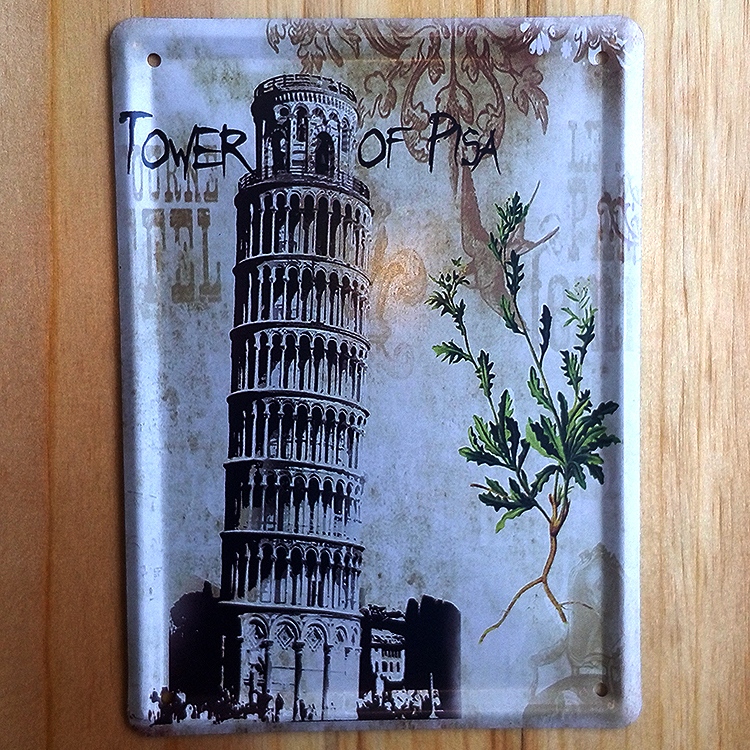 Tower of pisa Vintage antique wall art decor Metal Tin signs cafe bar house bus retro painting 8*11 CM free shipping YT-00962(China (Mainland))