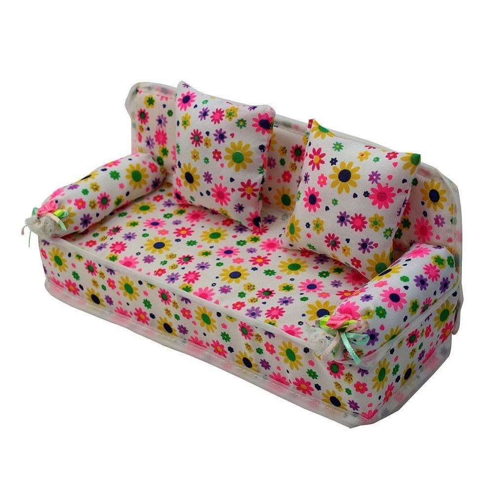 Beautiful Miniature Flower Prints Couch Sofa With 2 Cushions For Barbie Doll