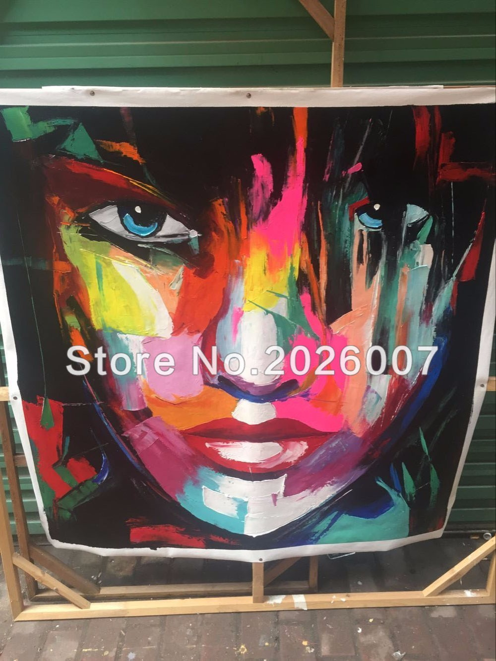 Buy Hand Painted High Quality Face Francoise Nielly Designer Abstract Knife Palette Art Oil Paintings Canvens Decorative Cool Face cheap