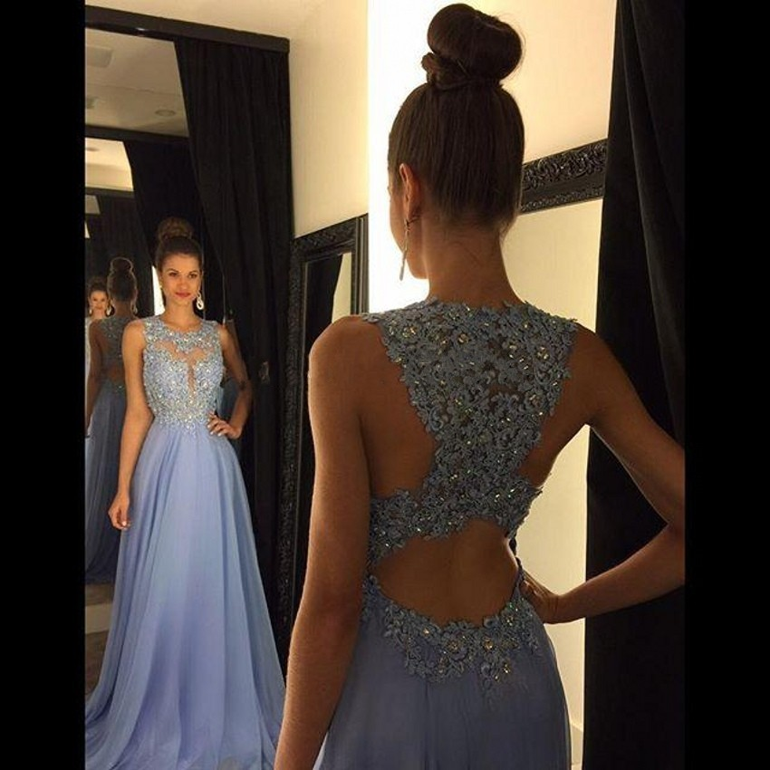 Sexy O Neck A Line Chiffon Lace Beaded Maroon Lavender Long Prom Dresses 2016 Backless Court Train Dress(China (Mainland))