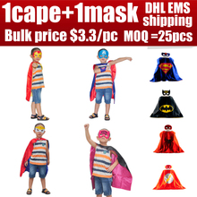 1 cap 1 masque de noël enfants superhero capes garçon fille enfants superman batman spiderman costume0 cosplay d'anniversaire super hero masque(China (Mainland))