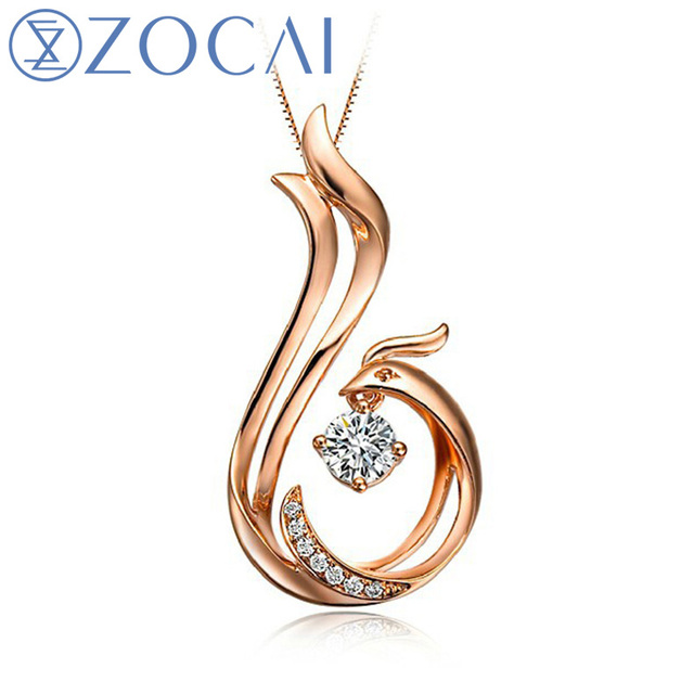 ZOCAI Love Forever Patent 0.12 CT Certified Diamond Phoenix Pendant 18K Rose Gold / 18K white Gold with 925 Silver Chain D00037