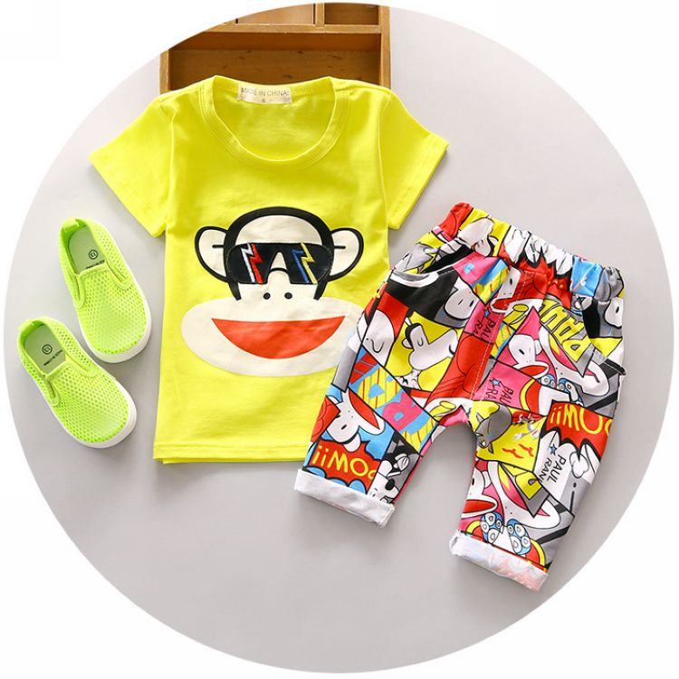 2016 Fashion Baby Boy Summer Clothing Set 1 2 3 Years Old Children Monkey Sets Nice Cotton Fashion Style Toolders 2Pc Suit(China (Mainland))
