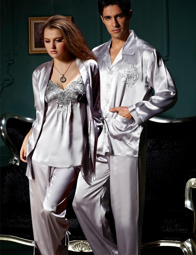 Free Shipping Couple Pajamas Emulation Silk Women Pijama Full Sleeve Men Pyjama V-neck Solid Sleepwear Casual Nightwear 8306(China (Mainland))