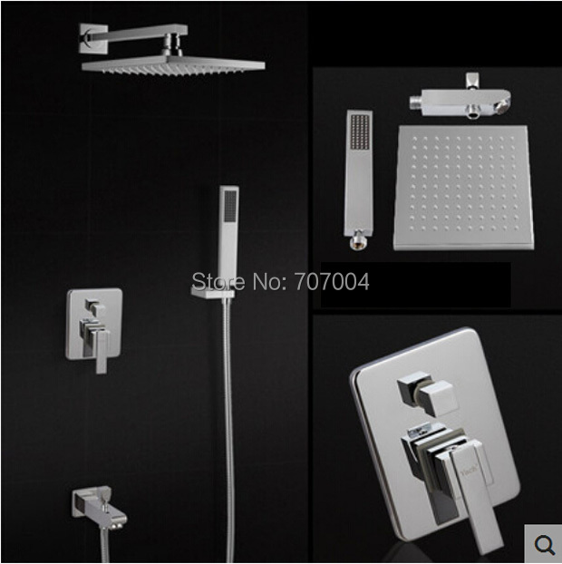 Фотография Concealed Install Shower Faucet  Mixer Tap System Wall Mount Bath Shower with Handshower Chrome Finish