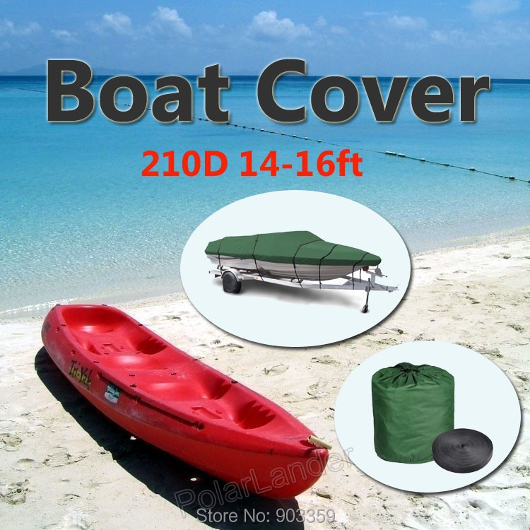 2015 Boat Cover 210D Oxford V-Hull Speedboat Cover 14-16ft High Quality Prevent UV Sunproof Waterproof Green