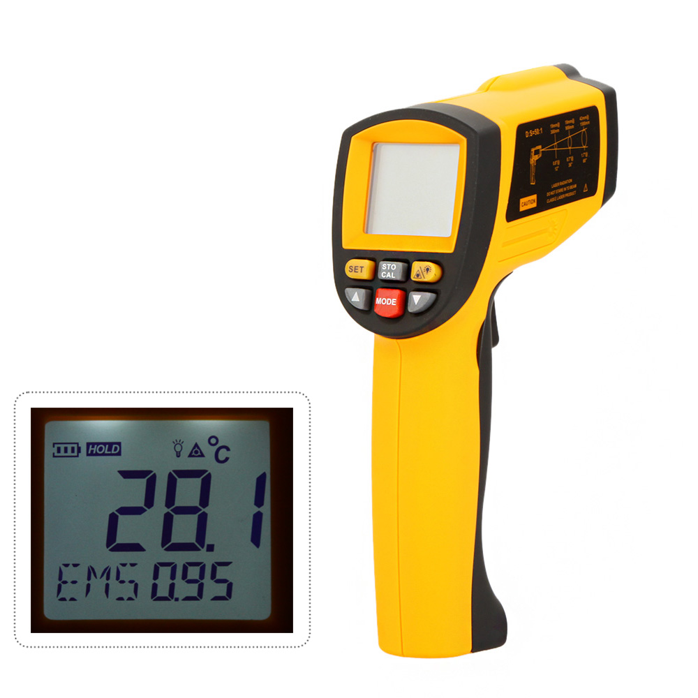 GM1150A Non-Contact 50:1 Digital Infrared Thermometer Laser IR Temperature Gun Tester Range -18~1150 Centigrade LCD Backlight(China (Mainland))