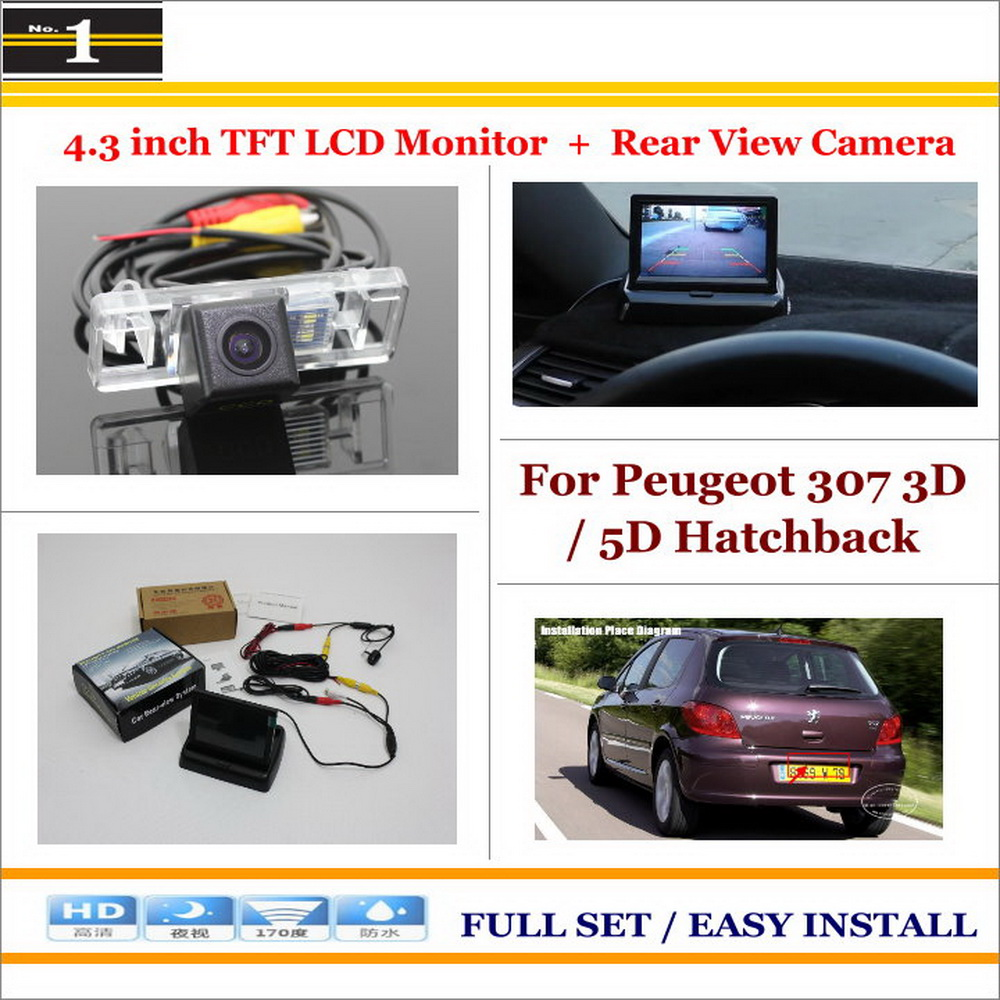 """Auto Rear View Camera Back Up + 4.3"""" LCD Monitor = 2 in 1 Parking Assistance System - For Peugeot 307 3D / 5D Hatchback(China (Mainland))"""