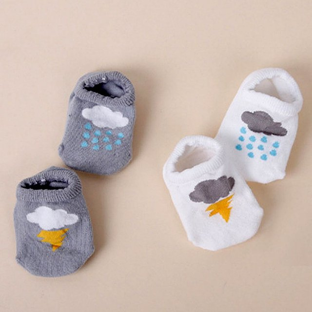 Детей с non-slip носки облако печать теплые мужская хлопок носки 0-4Y
