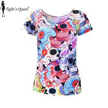 SKULL HEAD New ARRIVE 2015 Punk Day of the Dead Print Women Summer Top T shirts punk Clothing DROP Shipping(China (Mainland))