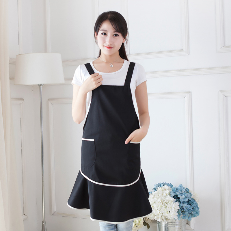 Japanese Style Kitchen Restaurant Cooking Bib Aprons For Women With Pocket Work Apron Waiter Waterproof Kitchen Cook Tool U0898(China (Mainland))