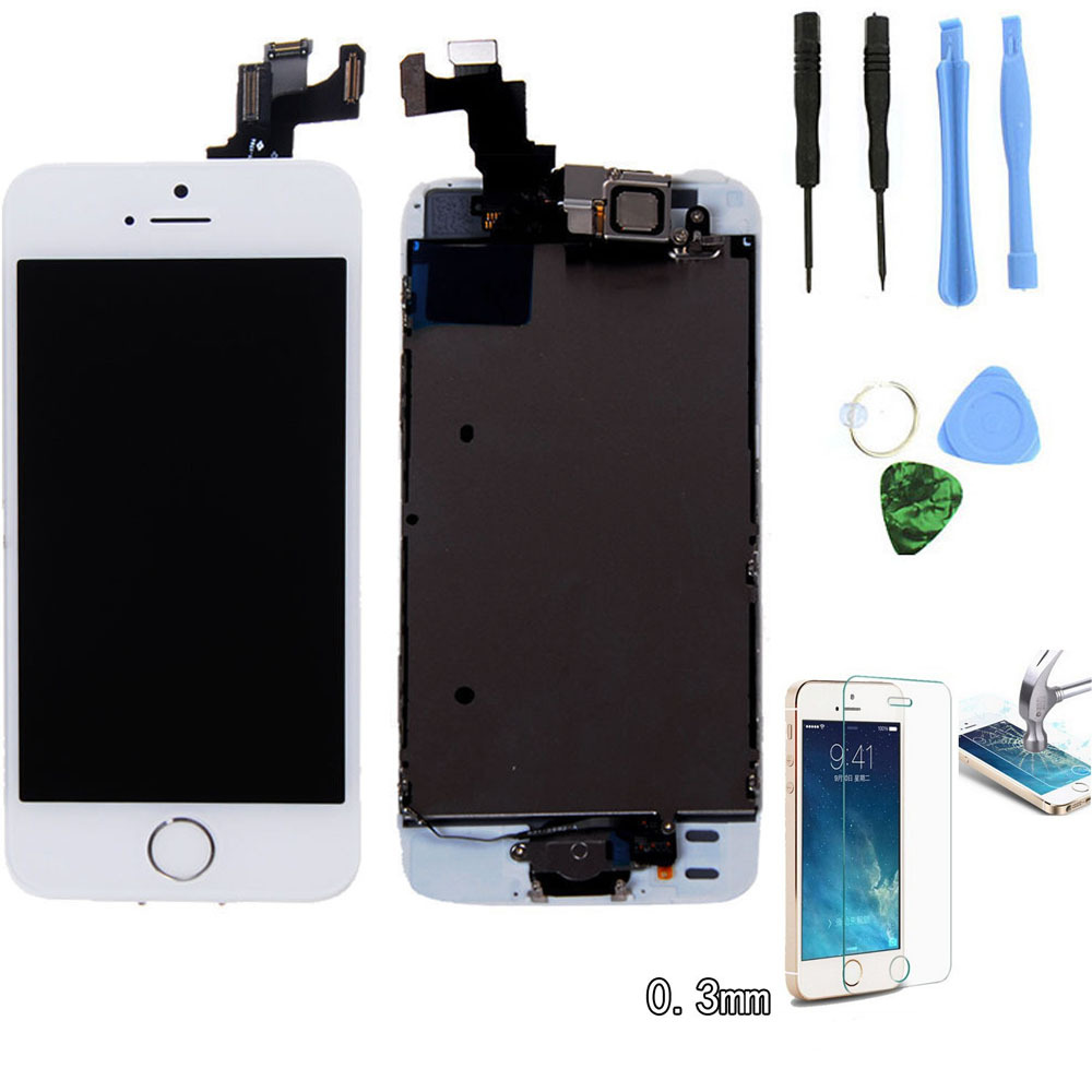 White For iPhone 5S LCD Display Touch Screen Digitizer Assembly +home button +Front Camera Replacement With Tempered glass Tools(China (Mainland))