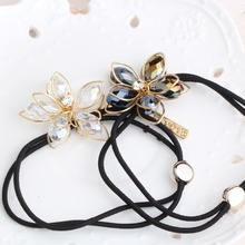 Buy Girl Metal Crystal Flower Headbands Hair Accessories Elastic Rope Rubber Band Girls Gum Hair Women Floral Elastic Hair Bands for $1.15 in AliExpress store