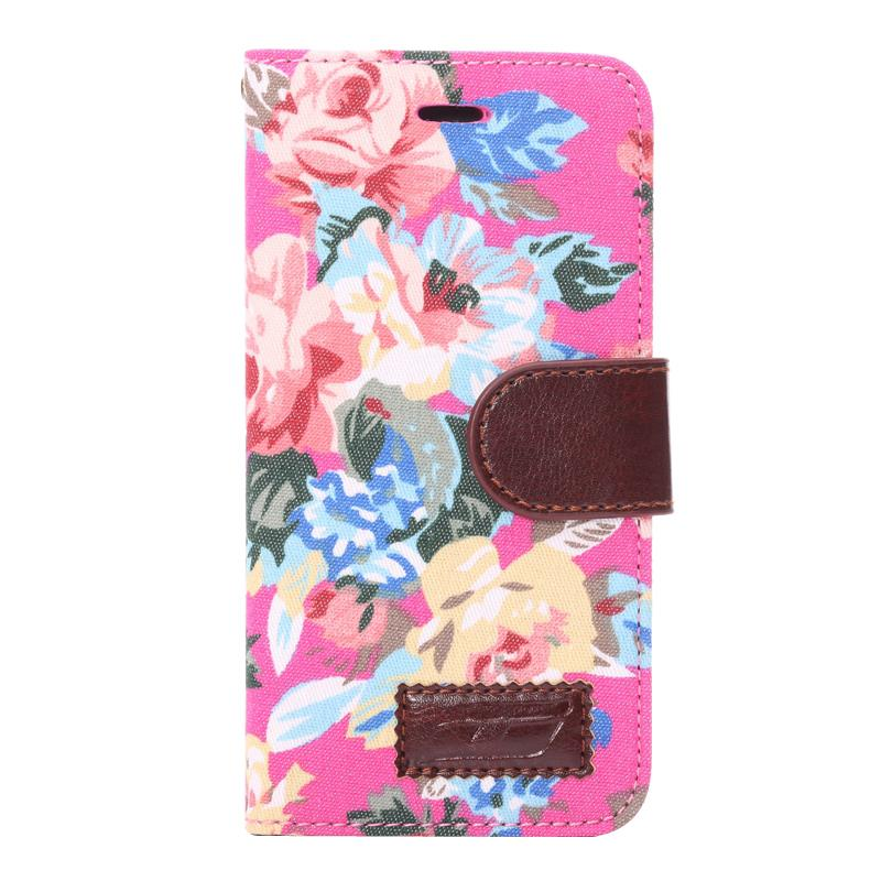 6G New Style Flower Print Fabric + PU leather case cover for Apple iphone6 6G 4.7inch Mobile Phone Card holder stand wallet bags(China (Mainland))