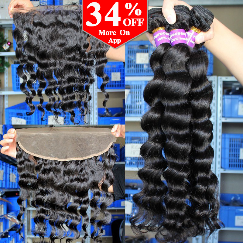 13x4 Peruvian Loose Wave Lace Frontal Closure With Bundles 6A Peruvian Virgin Hair With Lace Frontal Closure Rosa Hair Products<br><br>Aliexpress