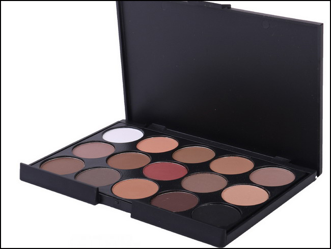 New Arrival Professional MC Brand New Quality 15 Color Eyeshadow Palette Natural Matte Shimmer Eye shadow make up camouflage(China (Mainland))