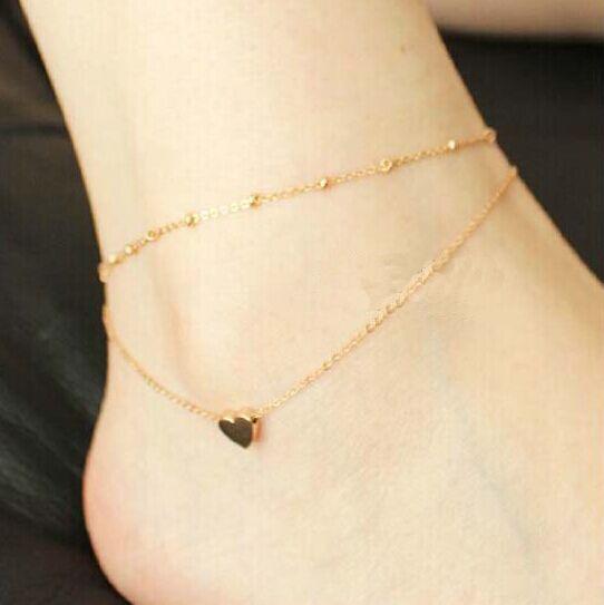 Anklet Bracelet on a leg Bracelets SilverGold Chain Anklet Trendy Foot Jewelry Heart Anklet Bracelets On Foot Bracelet For Women(China (Mainland))