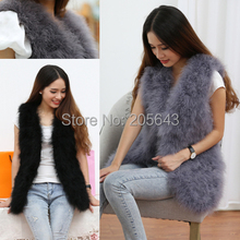 Ostrich fur vest design long outerwear turkey wool women's coat