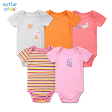 5pcs/lot Baby Girls Bodysuit Baby Clothing Set Summer Cotton Baby Girl Boy Short Sleeve Striped Jumpsuit Newborn Infant Clothes(China (Mainland))