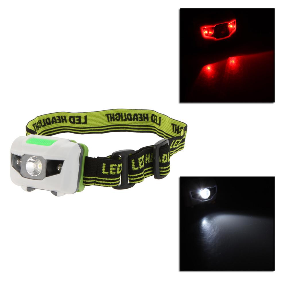 3W Mini White LED Headlight Headlamp 3 Modes 2LED Red Flashlight Hiking Camping Night Fishing Riding Cycling(China (Mainland))