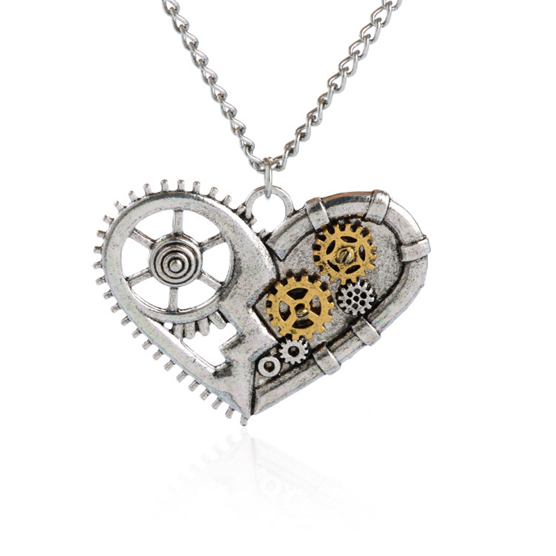 "Heart Steampunk Necklace ""Mechanics of Love"" Antique Watch Movement Silver Plated Pendant Punk Necklace for Women Mens Necklace(China (Mainland))"
