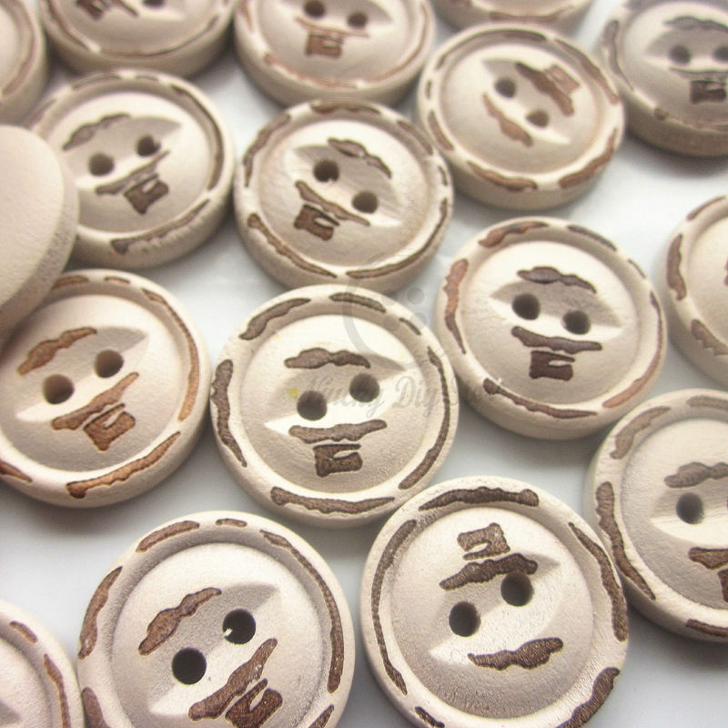 60pcs 18mm fish eye smile vintage wooden buttons do the old suit for sweater sewing craft decorative buttons(China (Mainland))