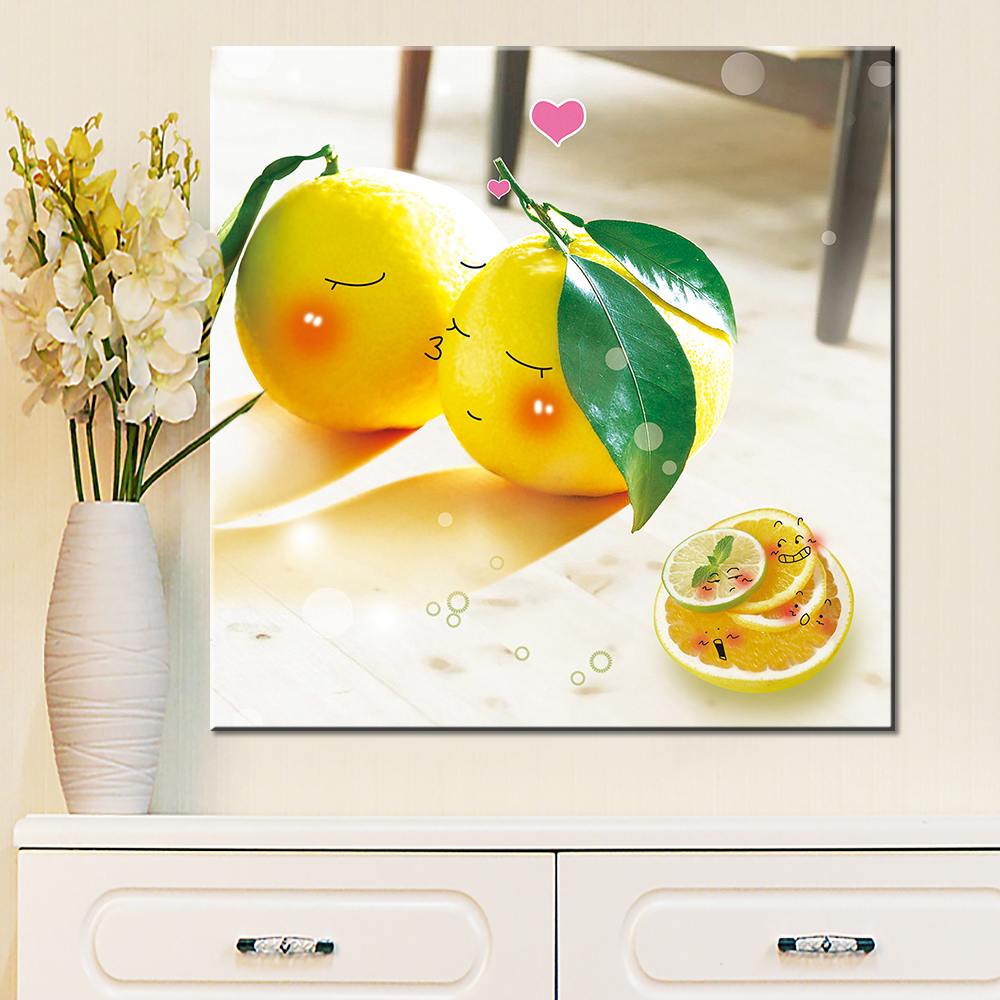 Oil Painting Canvas Print Still Life Flower Fruit Apple Orange Cherry Caffe Gift for Living Room Wall Home Decoration Picture(China (Mainland))