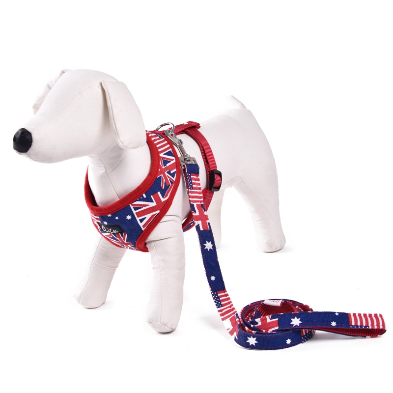 Free Shipping Nylon Pet Harness Print Flag Dog Cat Leash Safety For Puppy Adjustable Product Running Training Outside Soft(China (Mainland))