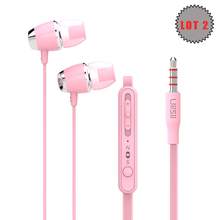 Lot 2 Earphone UiiSii U5 3.5mm Earbud with Microphone Stereo Surround Sound for iPhone Samsung Huawei Xiaomi Nokia PC Tablet HOT