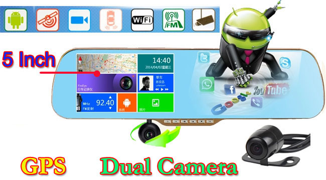 """Full HD 1080P 5"""" Touch Anroid Car DVR GPS Navigation Wifi FM Parking Rearview Mirror recorder Dash cam Dual camera + free Maps(China (Mainland))"""