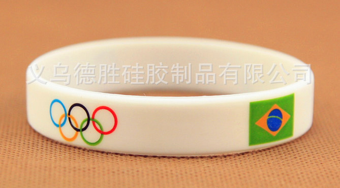 2016 New arrival colorful imprint silicone wristbands wholesale rubber silicone bracelets with the Rio Olympics logo