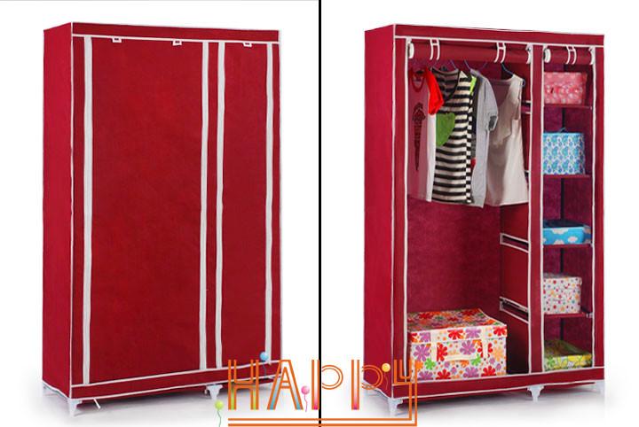 YoHere bedroom simple steel frame folding cabinet portable wardrobe hanging fabric wardrobes closet clothes storage locker(China (Mainland))