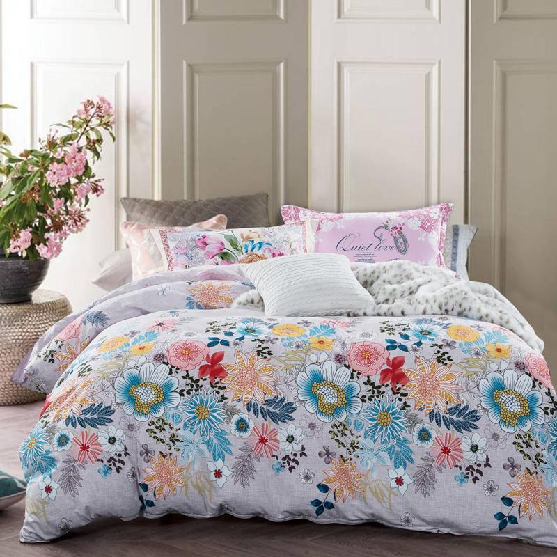 all cotton bedding set 4pcs duvet cover set duvet cover sheet pillowcasedpastoral style twin. Black Bedroom Furniture Sets. Home Design Ideas