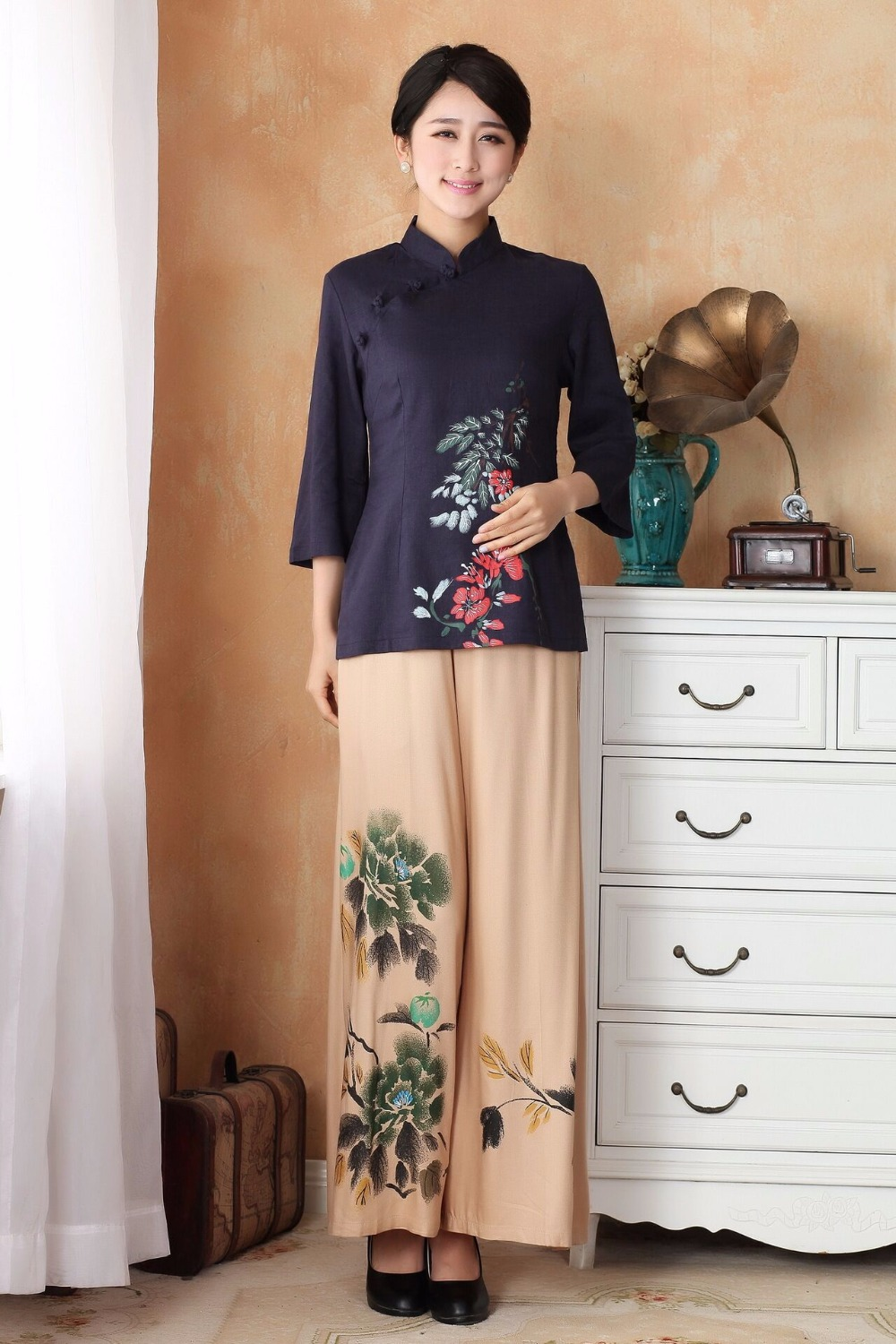 New Arrival Chinese Women's Shirt Pants Sets Cotton Linen Tang Suit Clothing Size S M L XL XXL XXXL 2395-2(China (Mainland))