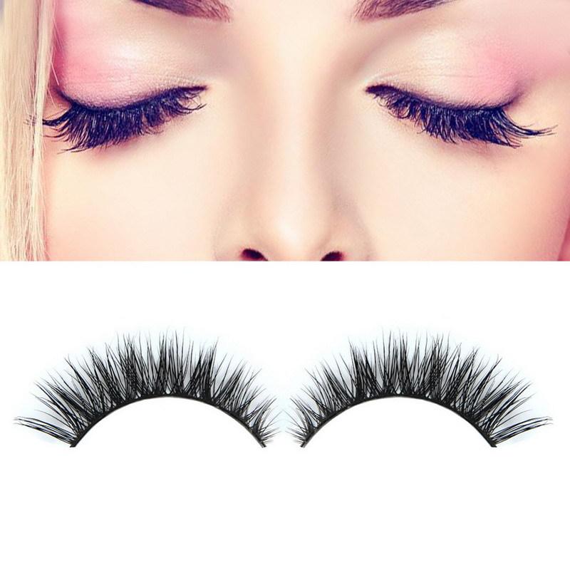 2016 1Pair 3D Natural Bushy Cross False Eyelashes Mink Hair Handmade Eye Lashes 12 mm Charming Eyelash Extensions - bestnewplan store