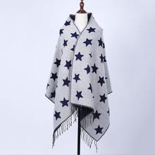 2016 winter scarf Cashmere women double side shawl scarves air conditioning shawl Duplex Star Pattern Fashion Tassels Decorative(China (Mainland))