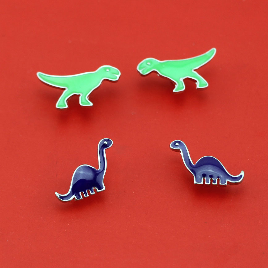 2016 New Fashion Earring Women Jewelry Smart Dinosaur Purple /Green Earring Stud AEQ For Girls Free Shipping(China (Mainland))