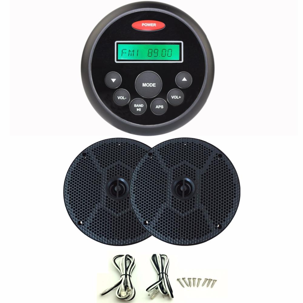 "4.5"" Waterproof Marine Gauge Radio FM AM Audio Bluetooth Stereo + 6.5inch 6.5'' 2 Way Marine Boat Waterproof Speakers(China (Mainland))"