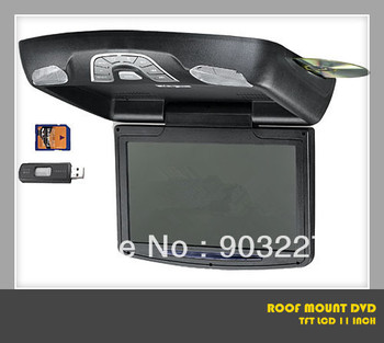 roof mount DVD player with 11 inch screen flip down monitor with high definition ,Game,built-in speaker,free shipping