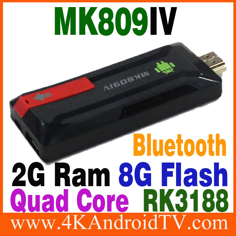 Best selling Quad Mk809IV RK3188 Mini PC Bluetooth HDMI 1080p 2G/8G Andriod Mini TV BOX Dongle Stick Android Media TV Player(China (Mainland))