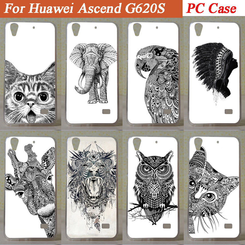 Hot Selling painting Colored Drawing black and white animals design hard cover Case for Huawei g620s cellphone back case(China (Mainland))