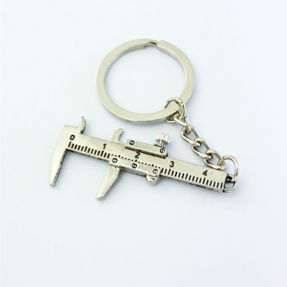 Metal Movable Vernier Caliper Ruler Model Keychain Keyring Keyfob Tool Gift(China (Mainland))