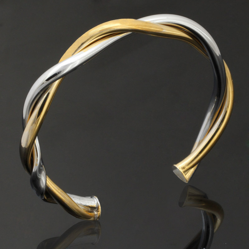 New Trendy Big Size Bracelets Trendy Two Tone 18K Real Gold Platinum Plated Cuff Bracelets Bangles
