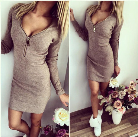 Fashio Solid color Fall Women sexy Slim package hip dress gold Neck zipper 3 colors clothing freeshipping(China (Mainland))