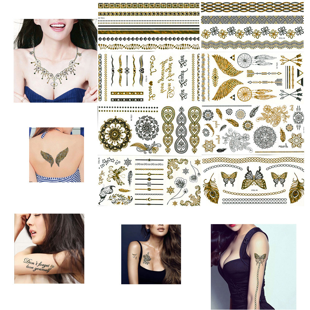 8 Sheets Flash Taoo Gold Temporary Taoos Glier Stickers Sexy Products Paper For Women&Men Body Art tatuagem metalica (15)